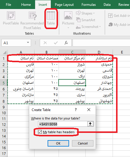 create table in excel