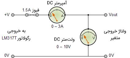 شکل ۵: استفاده از آمپرمتر و ولتمتر مدار رگولاتور ولتاژ متغیر