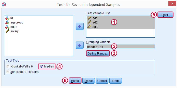 spss median test dialog