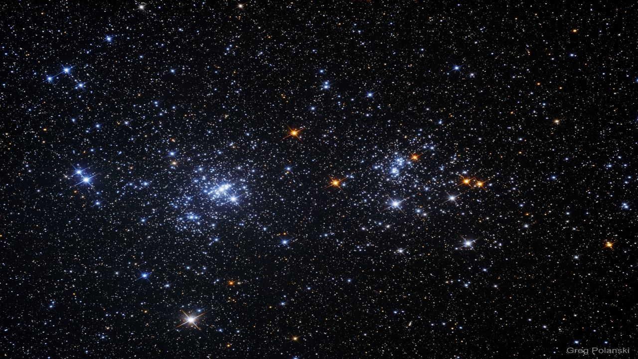 خوشه های دوقلو در صورت فلکی برساووش — تصویر نجومی