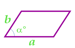 مساحت متوازی الاضلاع با دو ضلع و زاویه بین آنها