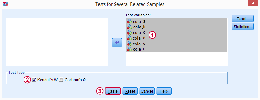 ُtest for several related samples dialog box