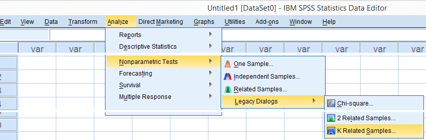 spss nonparametric tests k related samples