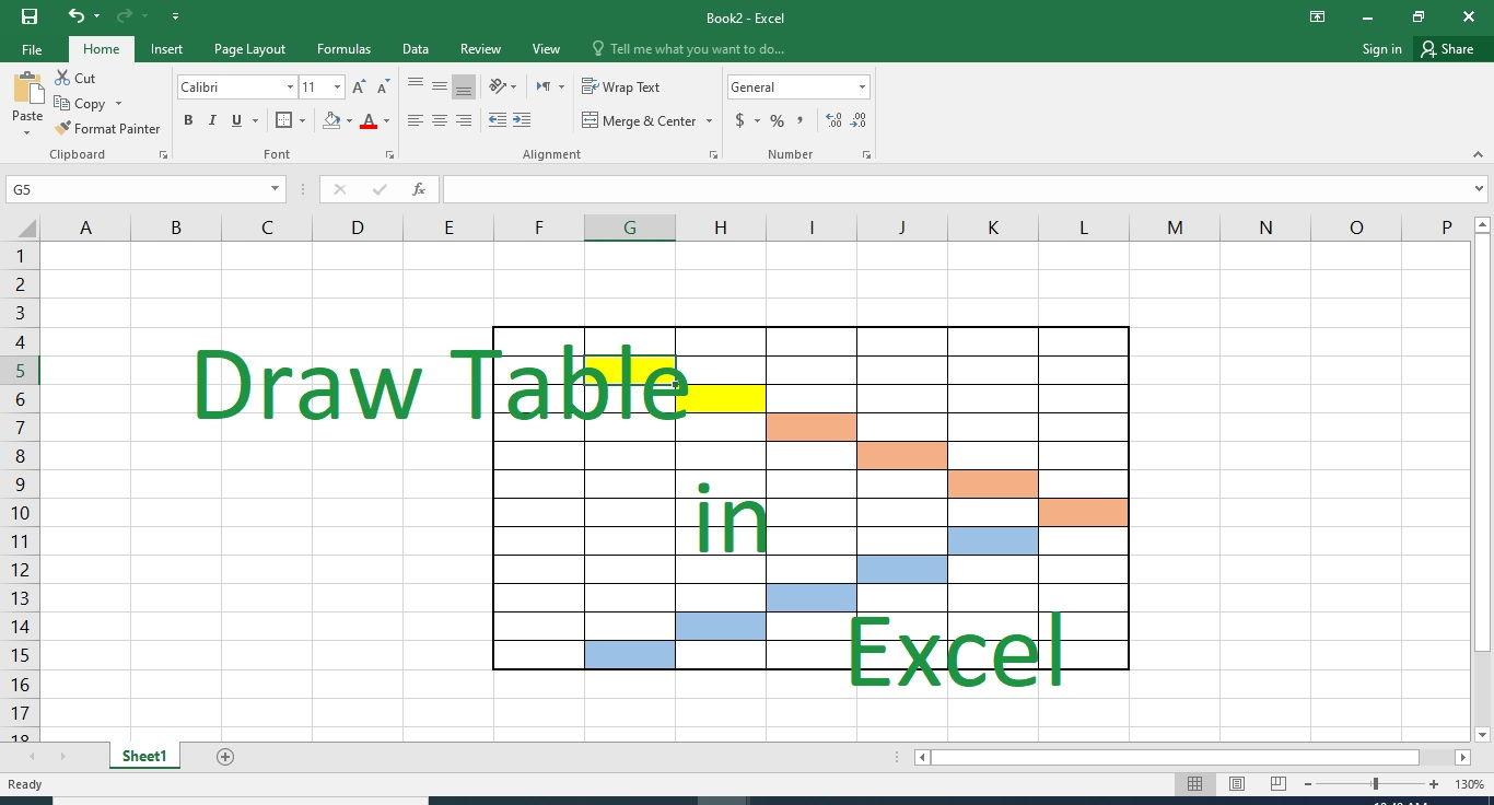 کشیدن جدول در اکسل — راهنمای گام به گام و تصویری