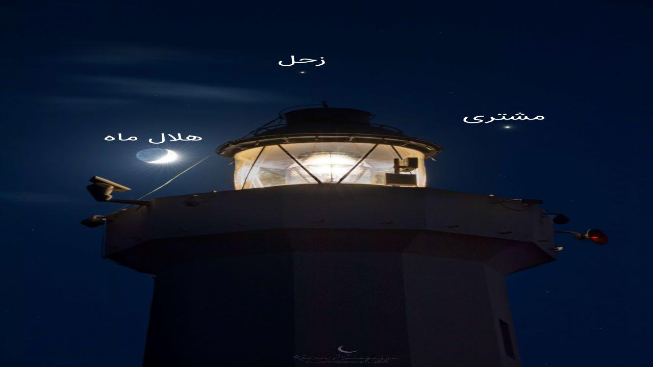 مقارنه بزرگ زحل و مشتری — تصویر نجومی