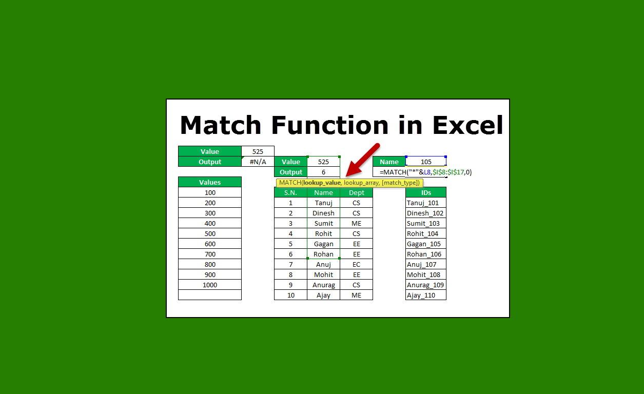 تابع MATCH در اکسل — آموزش با مثالهای کاربردی