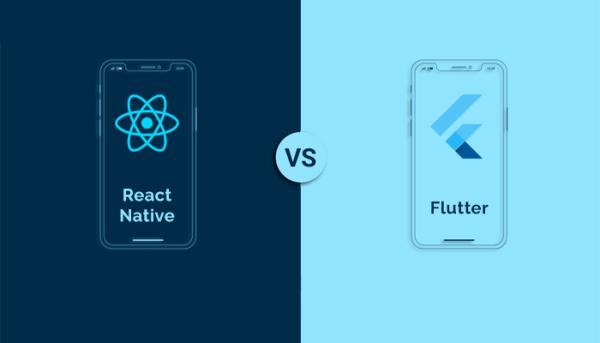 تصویر بیانگر رقابت دو فریمورک توسعه اپلیکیشن موبایل فلاتر (Flutter) و React Native است.