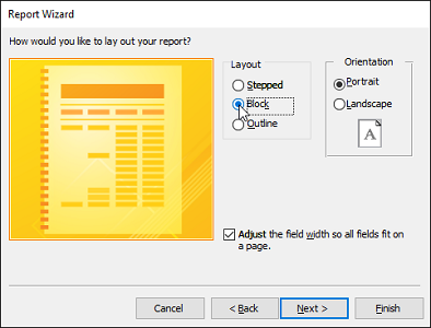 advanced report wizard layout options