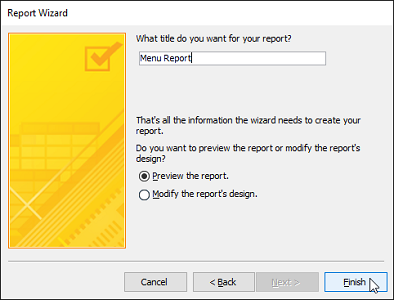 advanced report wizard layout title