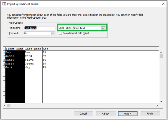 import excel to access data type
