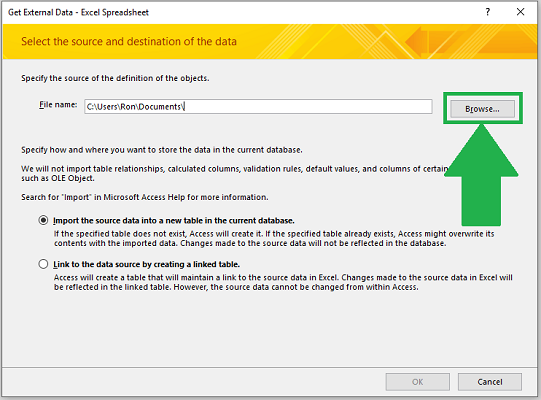 import excel to access dialog box