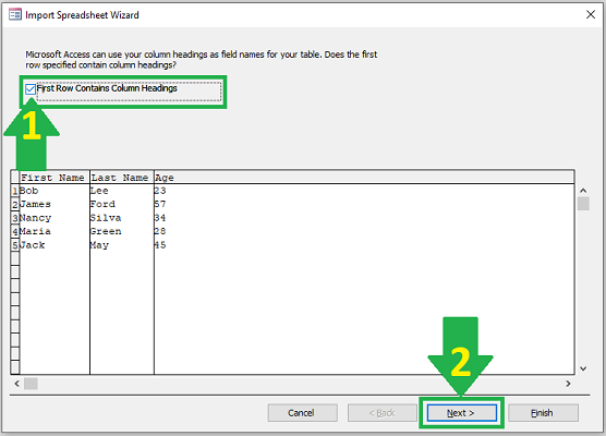 import excel to access field separation