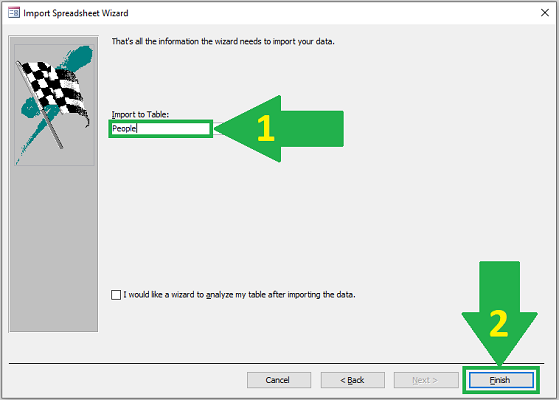 import excel to access last step