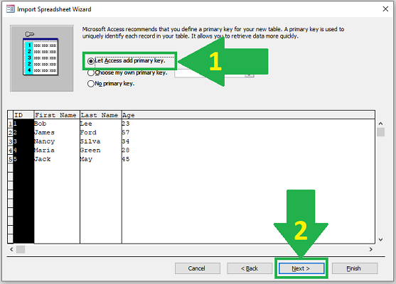 import excel to access primary key
