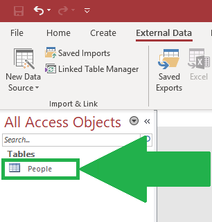 import excel to access table double click