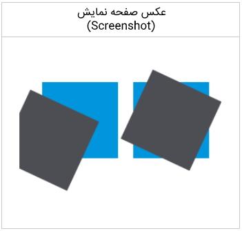 تصویر مربوط به خروجی کد مثال چرخاندن (Rotating) در آموزش Canvas