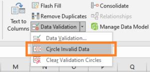 circle invalid data