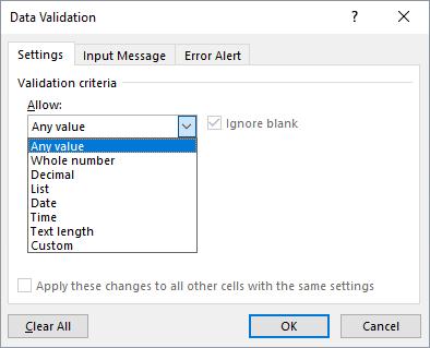 Data validation settings