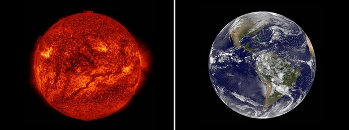 خورشید و زمین در یک قاب
