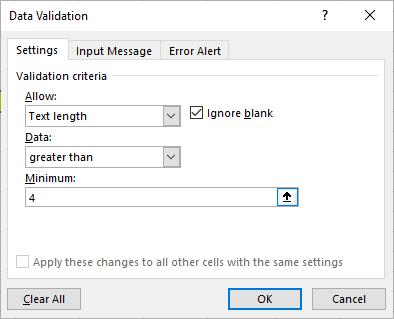 text length validation