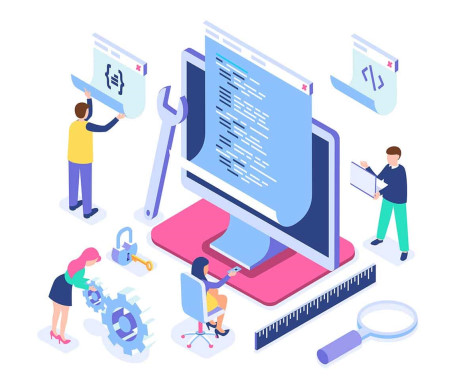 این تصویر گرافیکی توسعه دهندگان و برنامه نویسیان وب را در حال توسعه اپلیکیشن های بزرگ تجاری نشان می دهد که هدفی برای درس مهندسی اینترنت هم هست.