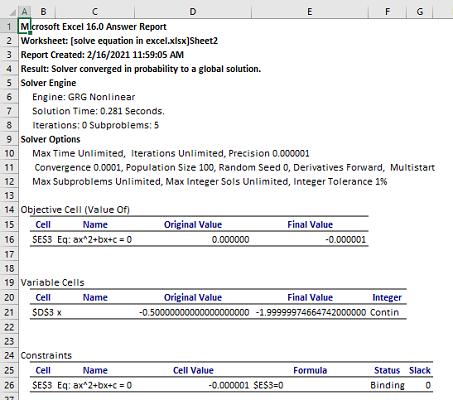 GRG methods answer report