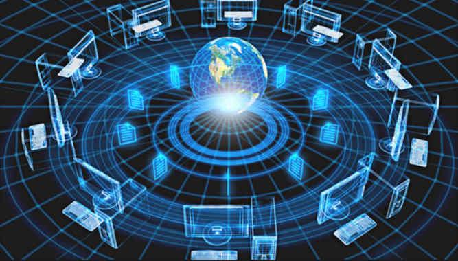 این تصویر انتزاعی از اینترنت را نشان می دهد به طوری که کلاینت ها در اطراف و کره زمین هم برای بیان مفهوم جهانی بودن شبکه اینترنت در مرکز تصویر قرار گرفته است.