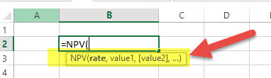 NPV Financial Functions in Excel
