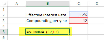 Nominal Financial Functions in Excel Example
