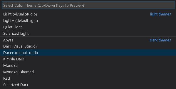 تم های رنگی VS Code در آموزش Visual Studio Code