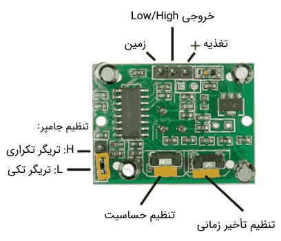 پایههای ماژول سنسور PIR