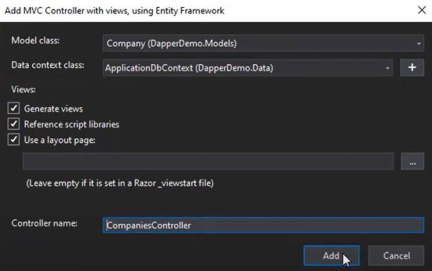 افزودن کنترلر MVC دارای نما با استفاده از Entity Framework | آموزش Dapper