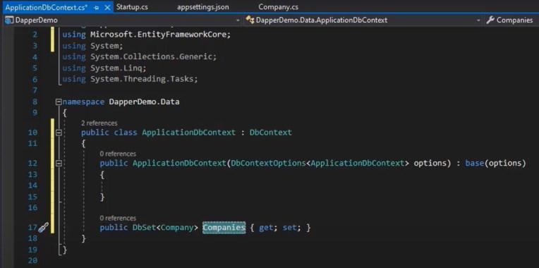 کلاس ApplicationDbContext برای آموزش Dapper