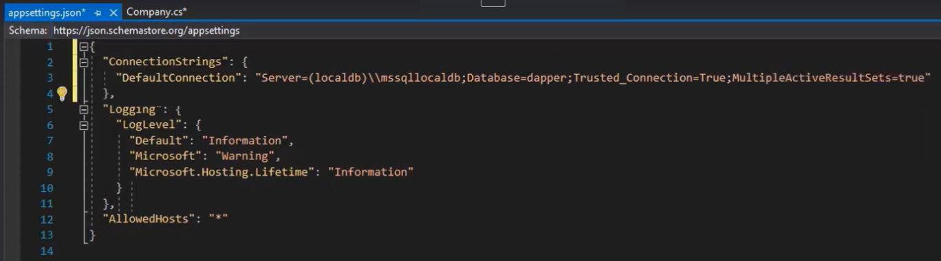 کدهای مربوط به فایل appsettings.json در آموزش Dapper