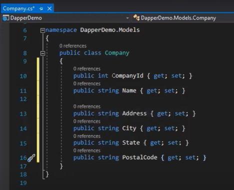 کدهای کلاس Company برای آموزش Dapper