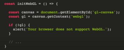 ایجاد Context جاوا اسکریپت برای پنجره Canvas جهت پیادهسازی WebGL