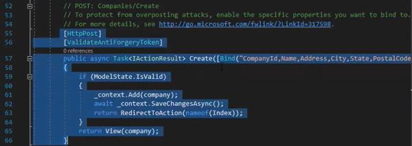 Create POST در Controller تولید شده به صورت خودکار توسط Entity Framework | آموزش Dapper