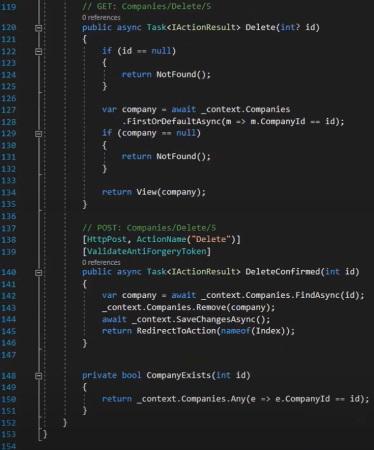 عملیات حذف در کنترلر ایجاده شده با Entity Framework | آموزش Dapper