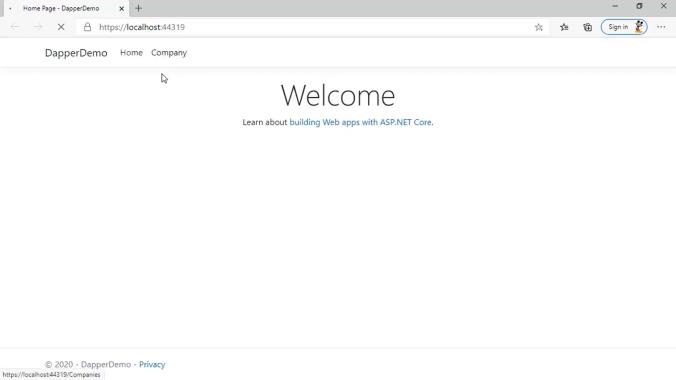 خروجی وب اپلیکیشن تولید شده با Entity Framework | آموزش Dapper