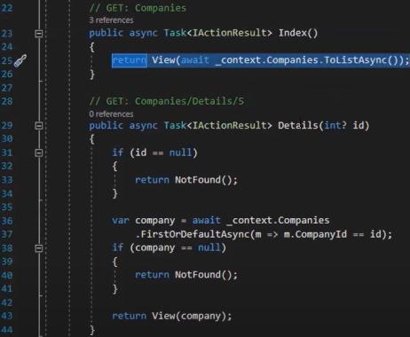 عملیات GET در کنترلر که به صورت خودکار توسط Entity Framework ایجاد شده است | آموزش Dapper