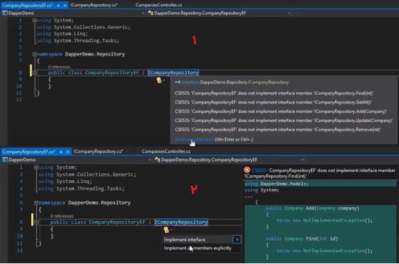 پیاده سازی رابط در کلاس Repository برای ایزوله کردن Entity به صورت یک Repository | آموزش Dapper