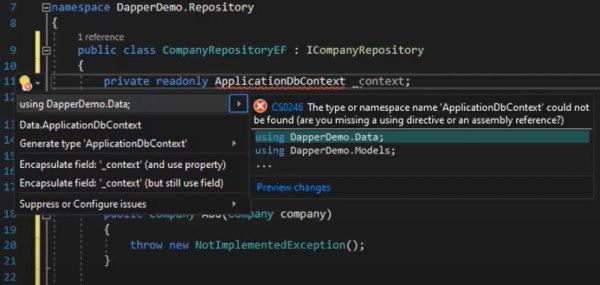 Include کردن DapperDemo.Data در کلاس Repository | آموزش Dapper