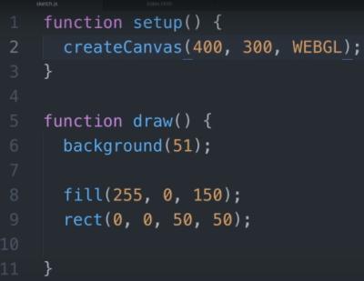 سه بعدی کردن Canvas دو بعدی با آرگومان WEBGL در تابع CreateCanvas برای آموزش وب جی ال در مطلب WebGL چیست ؟