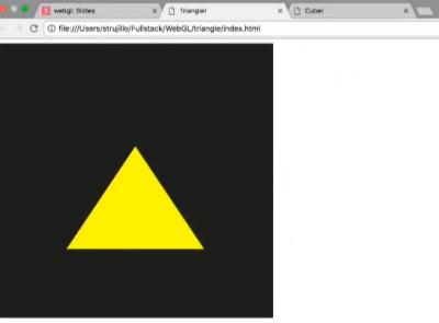 خروجی مثلث تولید شده با WebGL در آموزش وب جی الی | WebGL چیست ؟