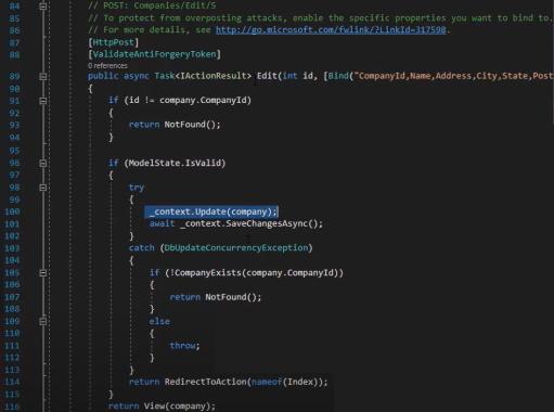 مثال مربوط به عملیات ویرایش در متد POST در کنترلر پیاده سازی شده با Entity Framework | آموزش Dapper
