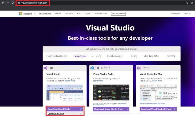 نصب Visual Studio 2019 Community برای آموزش Dapper