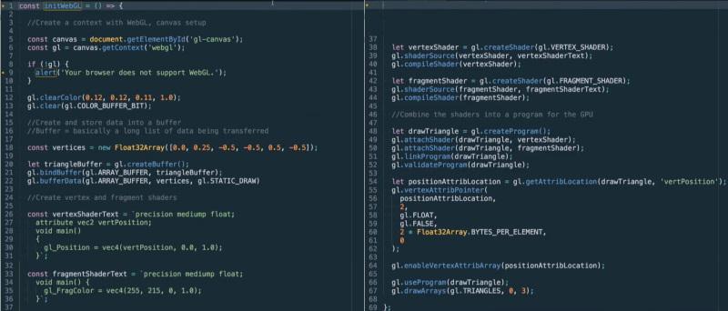 کدهای جاوا اسکریپت مربوط به تولید یک مثلث زرد رنگ دو بعدی با WebGL برای آموزش وب جی ال در مطلب WebGL چیست ؟