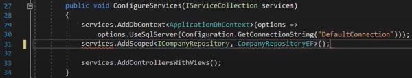 اضافه کردن کدهای لازم در فایل Startup.cs برای پیاده سازی ریپازیتوری Entity | آموزش Dapper