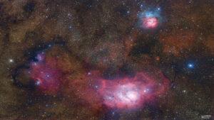 سه سحابی در صورت فلکی کمان — تصویر نجومی