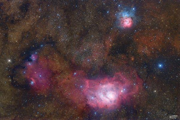 سه سحابی در صورت فلکی کمان